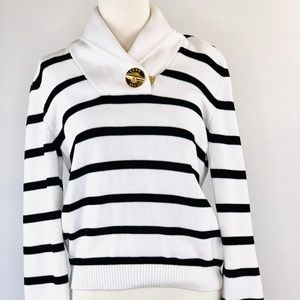 Ralph Lauren Shawl Neck Knit Sweater Gold Toggle M